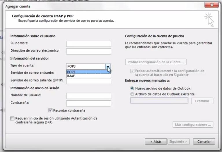 Configura Gmail en outlook