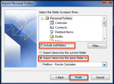Import personal folder