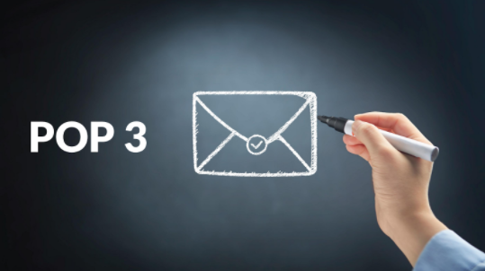 Protocolo POP3 con mano dibujando un correo.