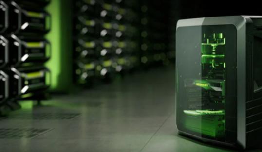 Computadora con luces RGB de color verde
