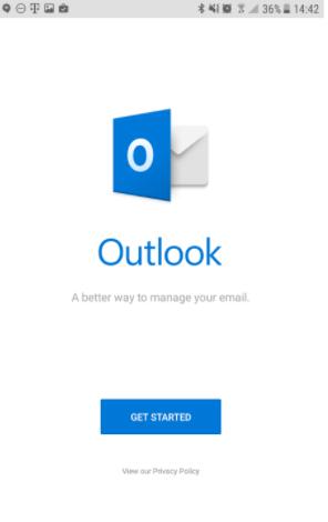 Captura de pantalla de Outlook en teléfono android