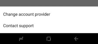 Captura de pantalla cambio de proveedor de cuenta