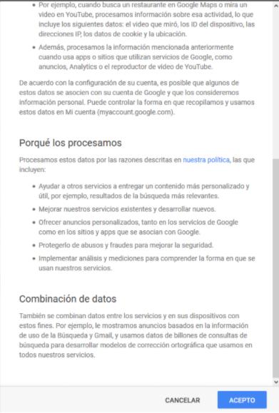 Servicio de Google con sus términos y condiciones