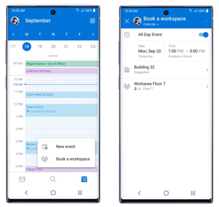 Calendario en microsoft outlook para Android