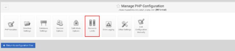 Seleccionar el botón Resource Limits