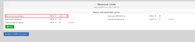 Seleccionar la sección Maximum memory alocation